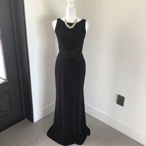 Ralph Lauren Ruched Mixed Media Evening Dress